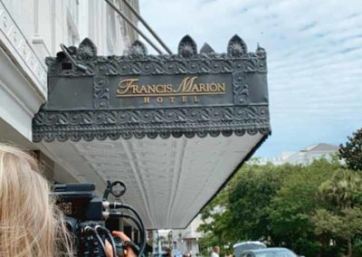 Kristy Crum, our cinematographer extraordinaire, takes in the grand entrance to the Francis Marion Hotel.